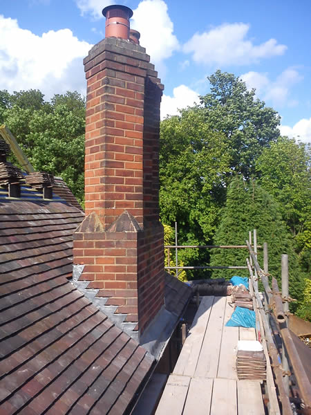 Lead flashing round chimney