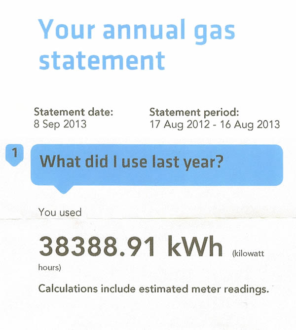 Example Annual Gas Statement Use to compare gas prices between gas suppliers