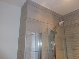 false wall to hide plumbing and electrics for shower