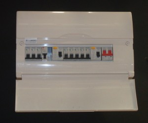 A typical modern consumer unit for an electric shower