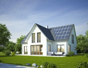 modern house with solar panels