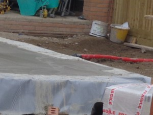 Close Up Of Area A Of Floor Slab Showing Floor Screed Close To Outer Leaf Of Brick