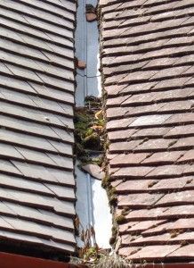 Blocked lead valley on clay roof