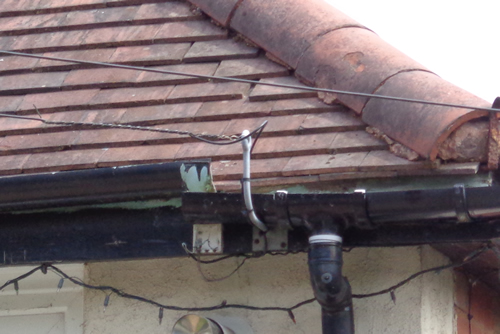 Damaged guttering causes leaks