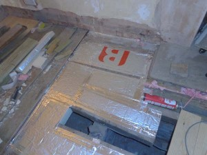 Aluminium tape used between joins in thermal boards and joists