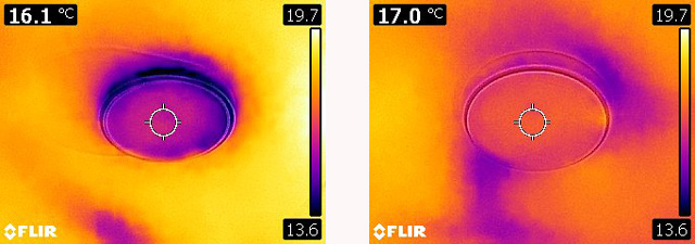 Thermal Imaging of MVHR Vents With No (left) And Partial (right) Insulation