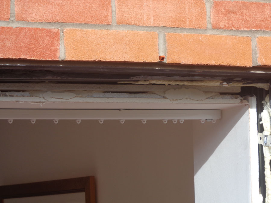 Some detail of the plasterboard around the door recess